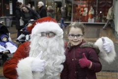 SANTA ARRIVES AT THE PYRAMIDS SHOPPING CENTRE, BIRKENHEAD.... Pictured is Santa with Zoe Ockenden,6 from Upton .
