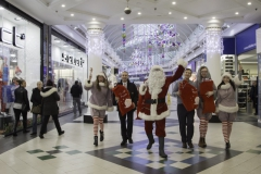 SANTA ARRIVES AT THE PYRAMIDS SHOPPING CENTRE, BIRKENHEAD....Pictured (from left) are  Twinkle (Laurie Coughlin), Derek Millar shopping centre Director,  Santa,  Keelan Early fundraiser for Claire house Hospice, Ollie Thomas (Snowdrop) and Amy Brumskill (Sparkle), .