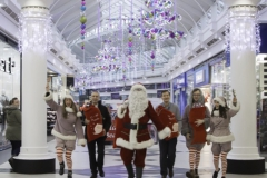 SANTA ARRIVES AT THE PYRAMIDS SHOPPING CENTRE, BIRKENHEAD....Pictured (from left) are  Twinkle (Laurie Coughlin), Derek Millar shopping centre Director,  Santa,  Keelan Early fundraiser for Claire house Hospice, Ollie Thomas (Snowdrop) and Amy Brumskill (Sparkle).